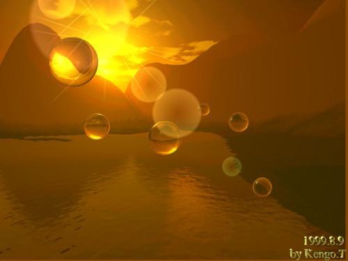 夕日とシャボン玉